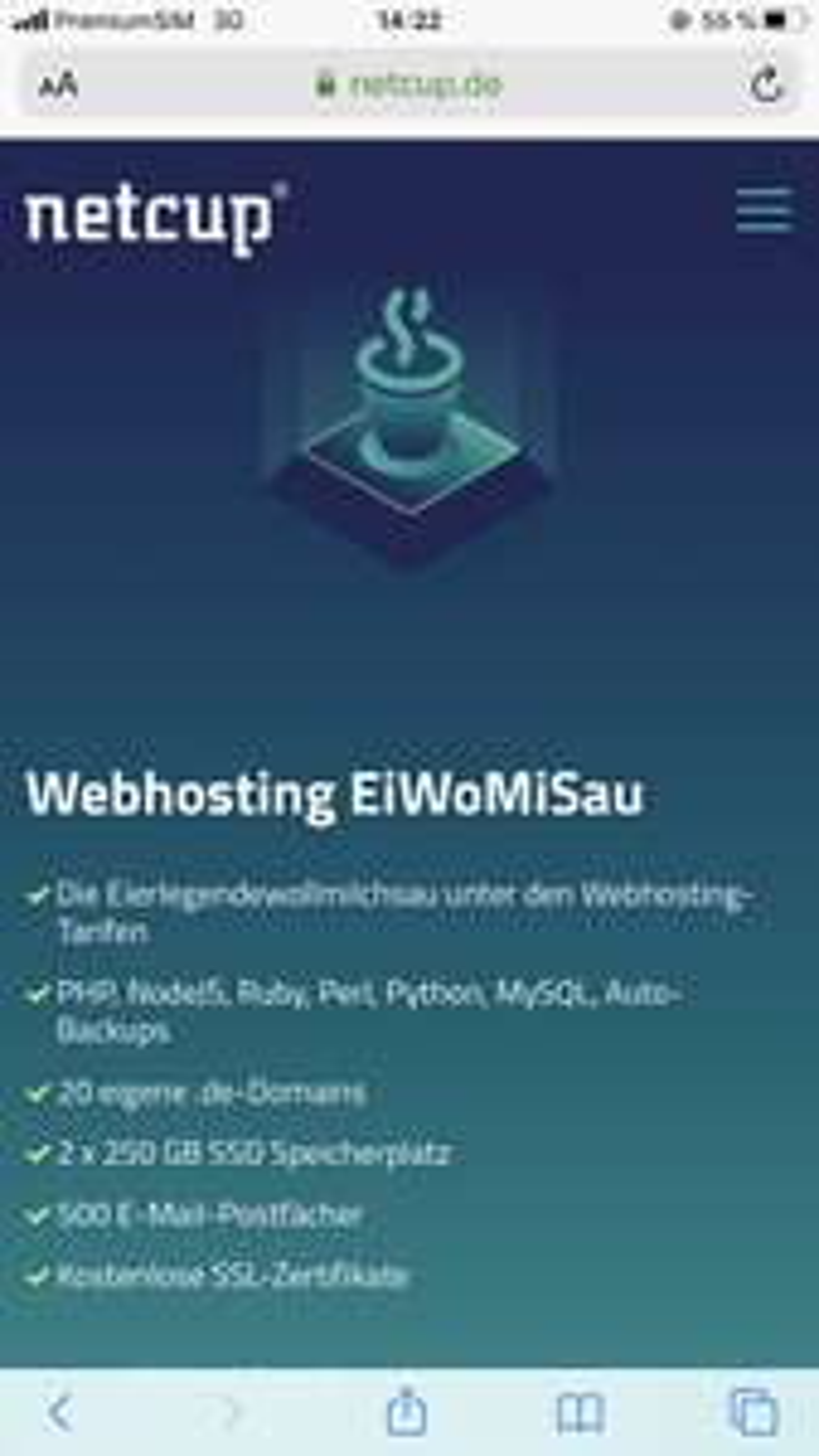 [netcup.de] EiWoMiSau Webhosting für 4,76€ / Monat • 20 .de Domain • 2x 250GB SSD Speicher • SSL • 500 Datenbanken • unlimited Traffic
