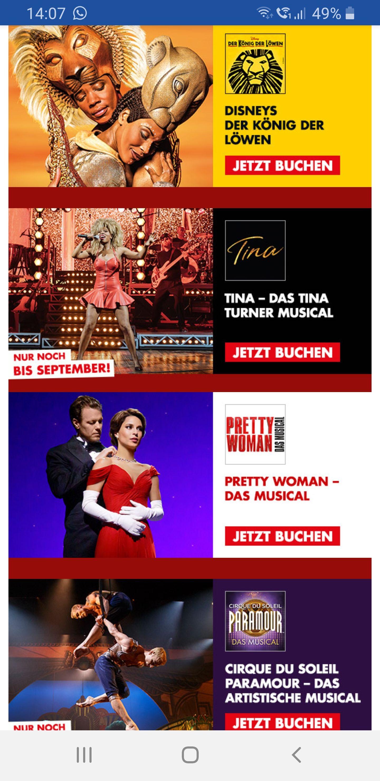 Stage-entertainment 2x Musikalstickets ab 99€ ( Disneys König der Löwen, Das Tina Turner Musikal, Cirque de Soleil, Pretty Woman, Mama Mia)