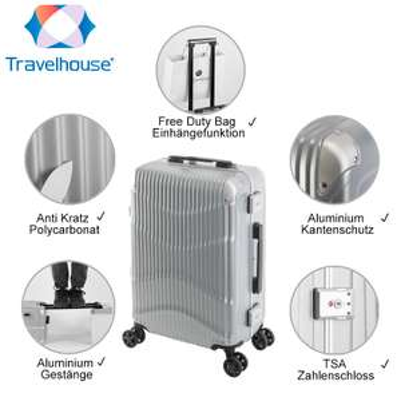 Travelhouse Koffer NewYork Wave | Alu-Rahmen & Polycarbonat- Hartschale | Handgepäck Koffer