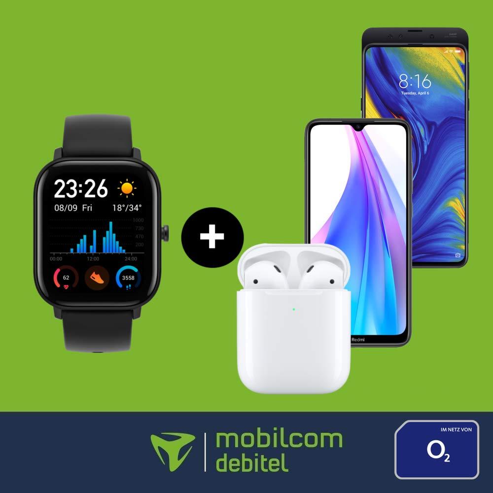 mobilcom debitel Free Unlimited Max (225 Mbit/s) mtl. 34,99€ inkl. Amazfit GTS + Apple AirPods, Xiaomi Redmi Note 8T od. Xiaomi Mi Mix 3 5G