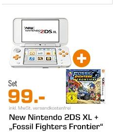 [Saturn] NINTENDO New Nintendo 2DS XL Spielekonsole, Weiß/Orange + Fossil Fighters: Frontier (3DS) für 99,-€