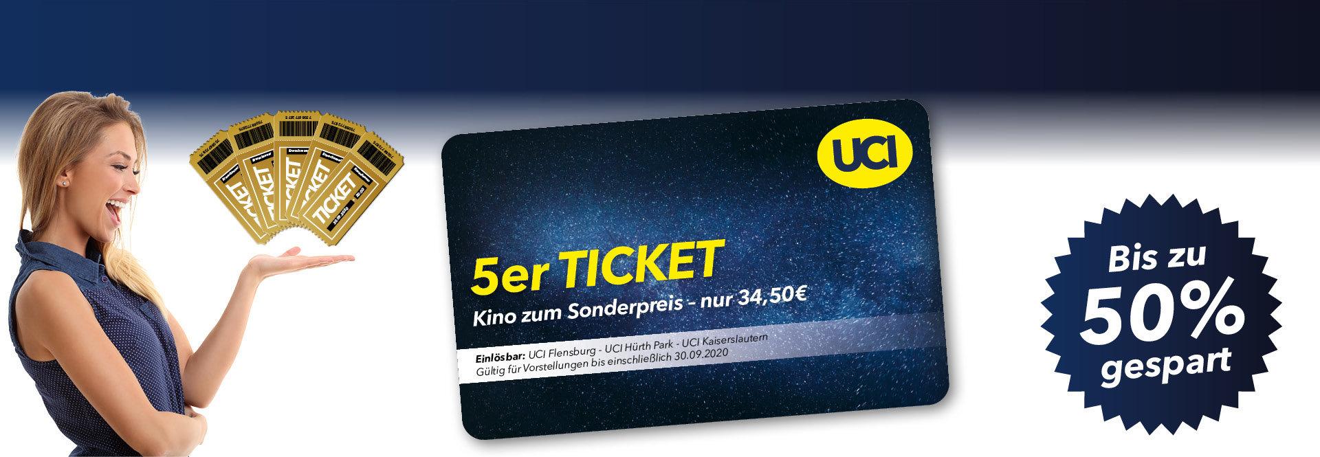 (Lokal) 5 Tickets für 34,50 - 6,90€ pro Kinoticket