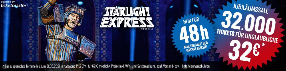 Starlight Express ab 32 € / 62 € (PK2 / PK1) für termine bis 31.3.2021 buchbar am 7.3 & 8.3