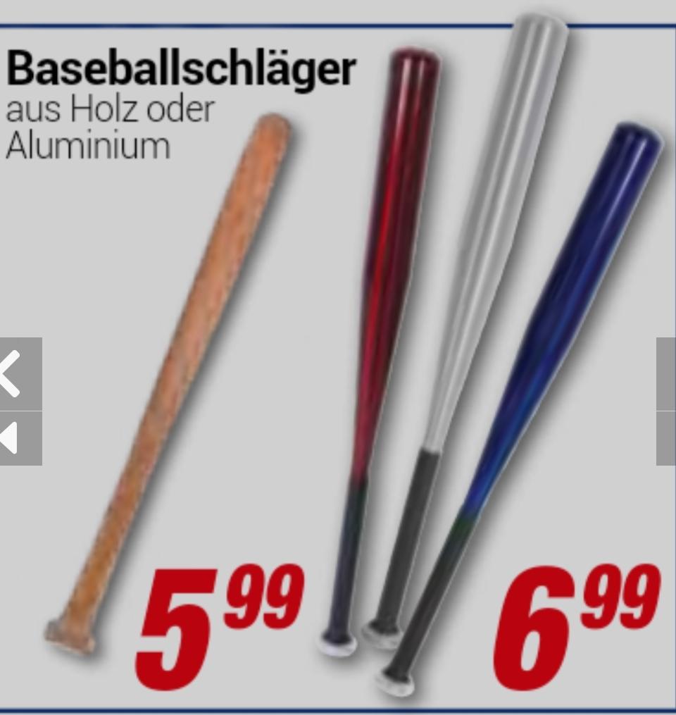 [Centershop] Baseballschläger aus Aluminium 6,99€ / Holz 5,99€