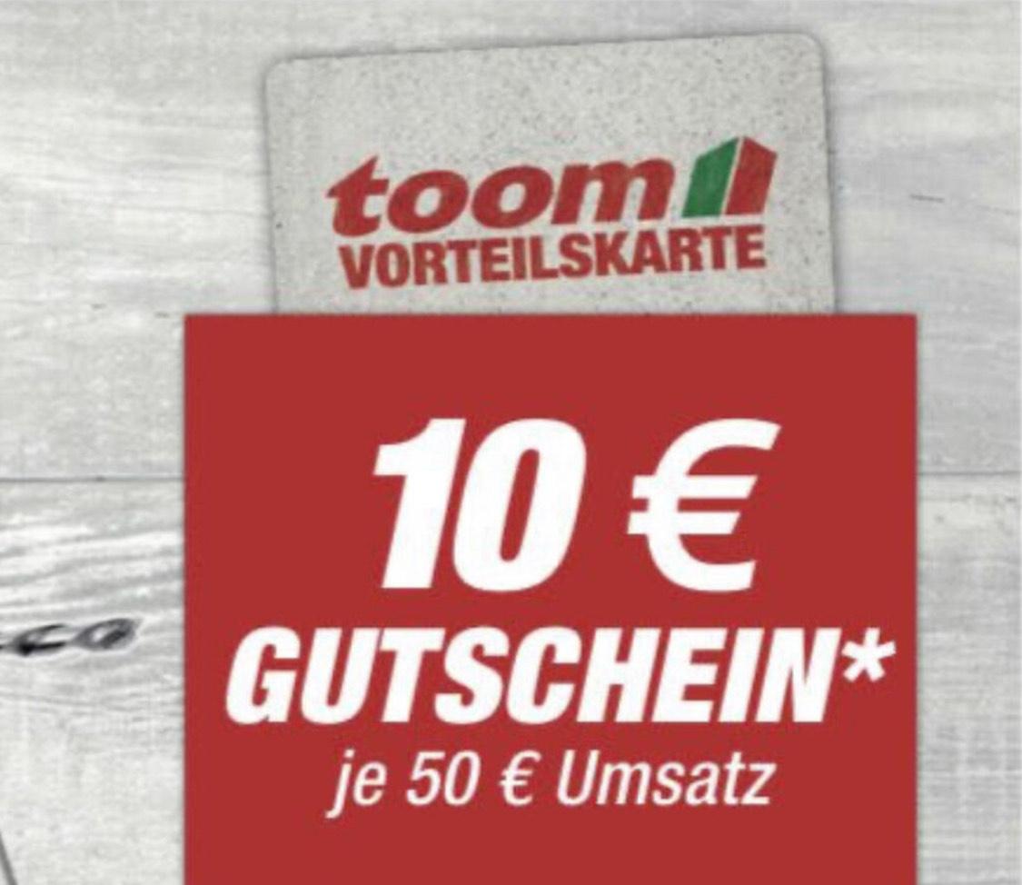 Toom Vorteilskarte - 10€ GS bei 50€ Umsatz