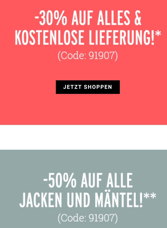 30% auf alle Jeans, Röcke und Hosen + kostenlose Lieferung + 12% Shoop