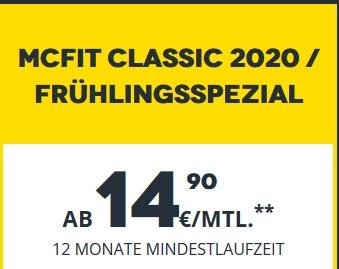 McFIT-Frühlingsspecial 17,40 € / 12 Monate Vertrag   17.03 – 24.03.   europaweit trainieren