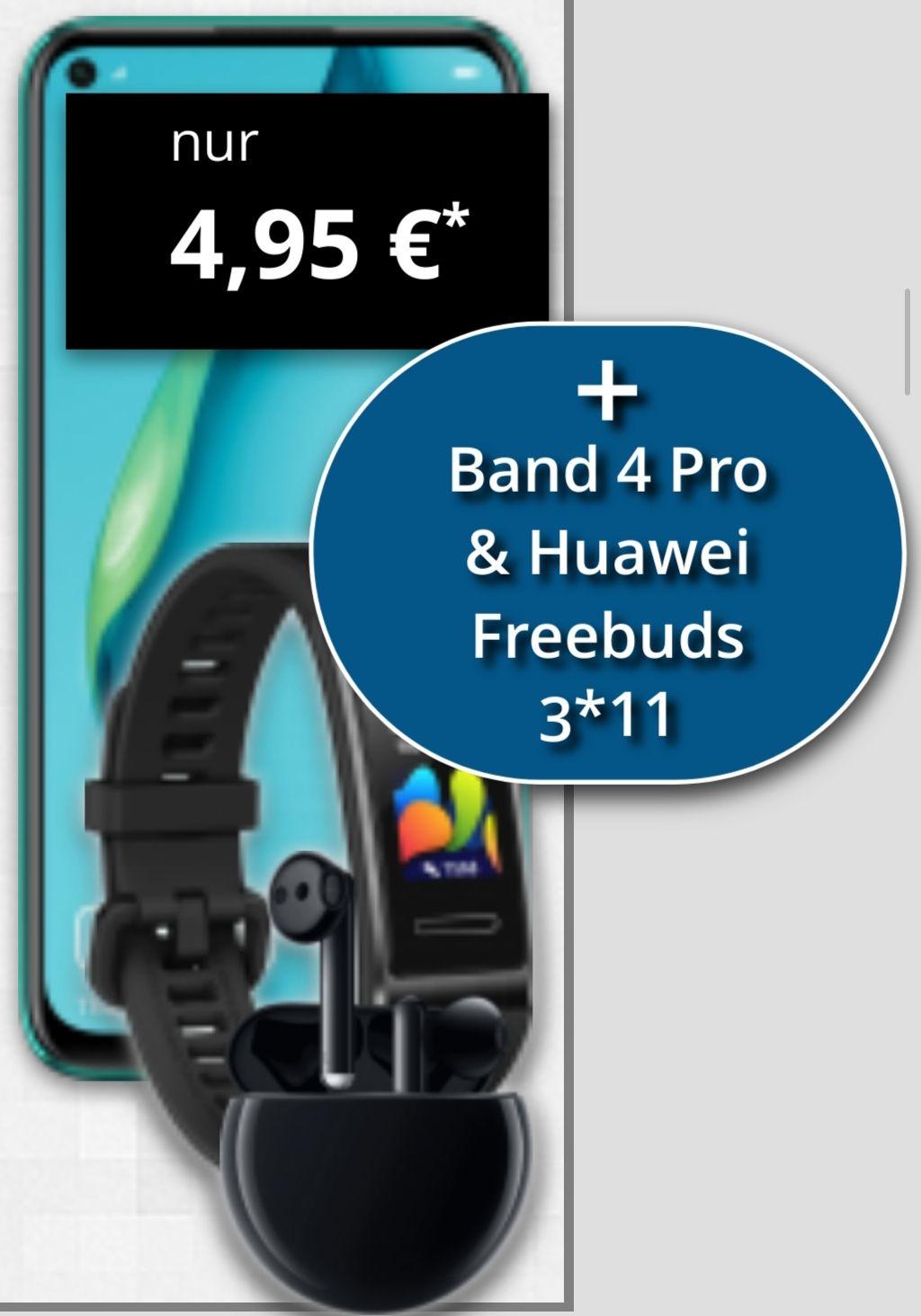 Huawei P40 Lite + Freebuds 3 + Band 4 Pro o. Samsung Gear Fit 2 Pro im Telekom Congstar (10GB LTE, Allnet/SMS) mtl. 25€ einm. 4,95€