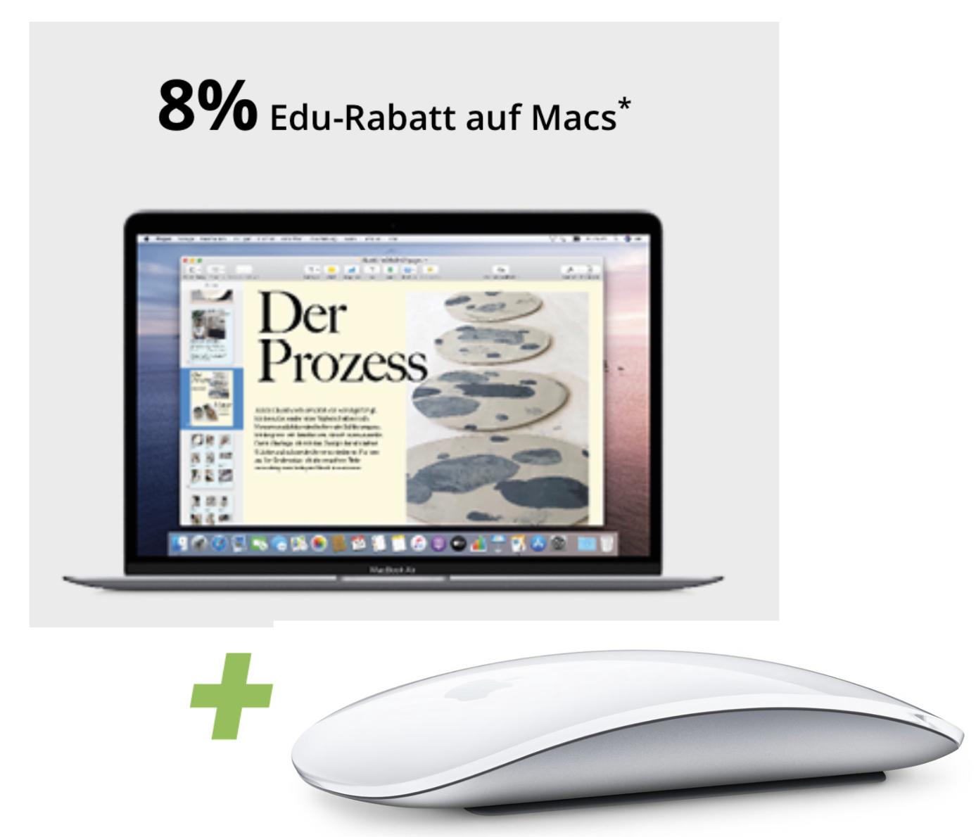 [Studenten] jetzt 8% EDU Rabatt auf Apple Macbook Pro Air - z.B. Macbook Air 2020 256GB + Magic Mouse 2 für für 1062€