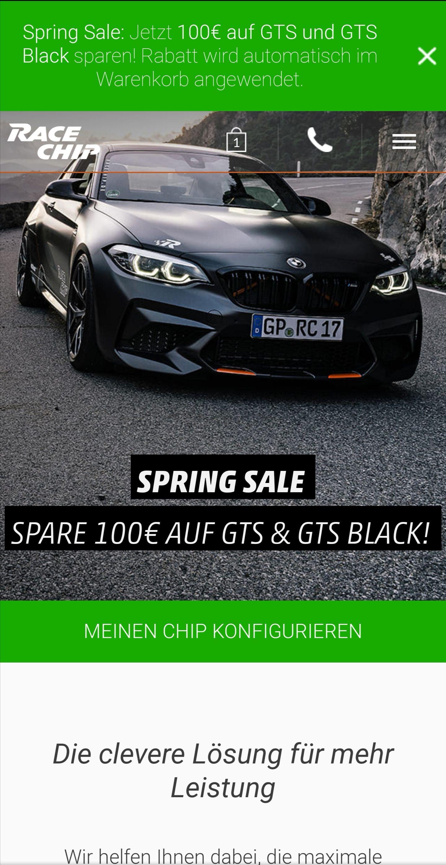 Racechip Springsale - 100€ Rabatt auf GTS & GTS Black