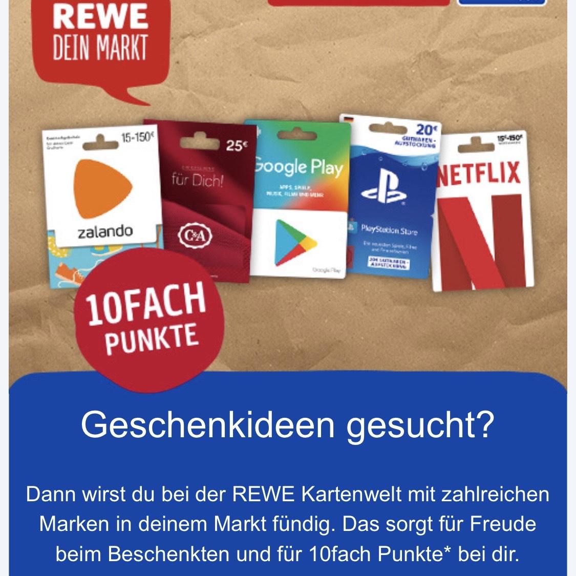 10fach Paybackpunkte bei REWE für Gutschein & Geschenkkarten (Online & Offline)