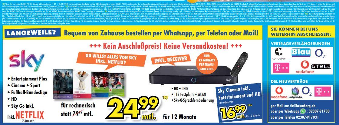 [Euronics] Sky Neukunden // Alle Pakete inkl. Netflix // Für 12x 39,99 - 180€ Cashback = eff. Preis 24,99€ monatlich