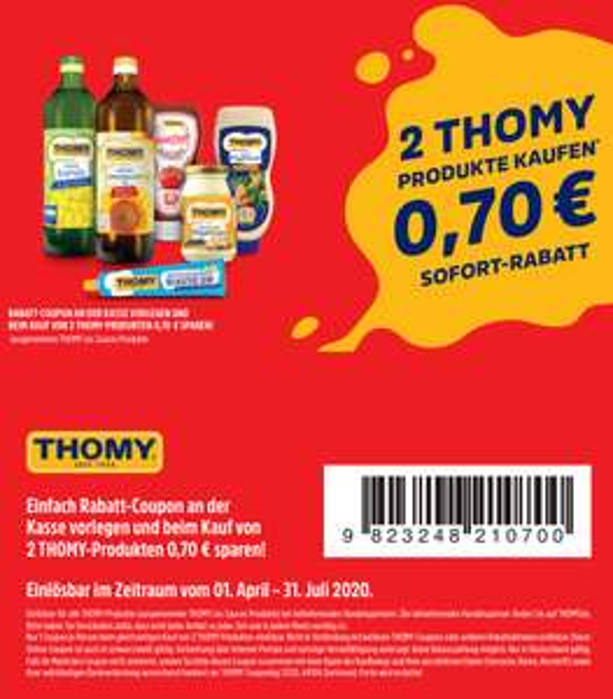 0,70€ Rabatt Coupon zum Ausdrucken für den Kauf von 2 Thomy Produkten bis 31.07.2020