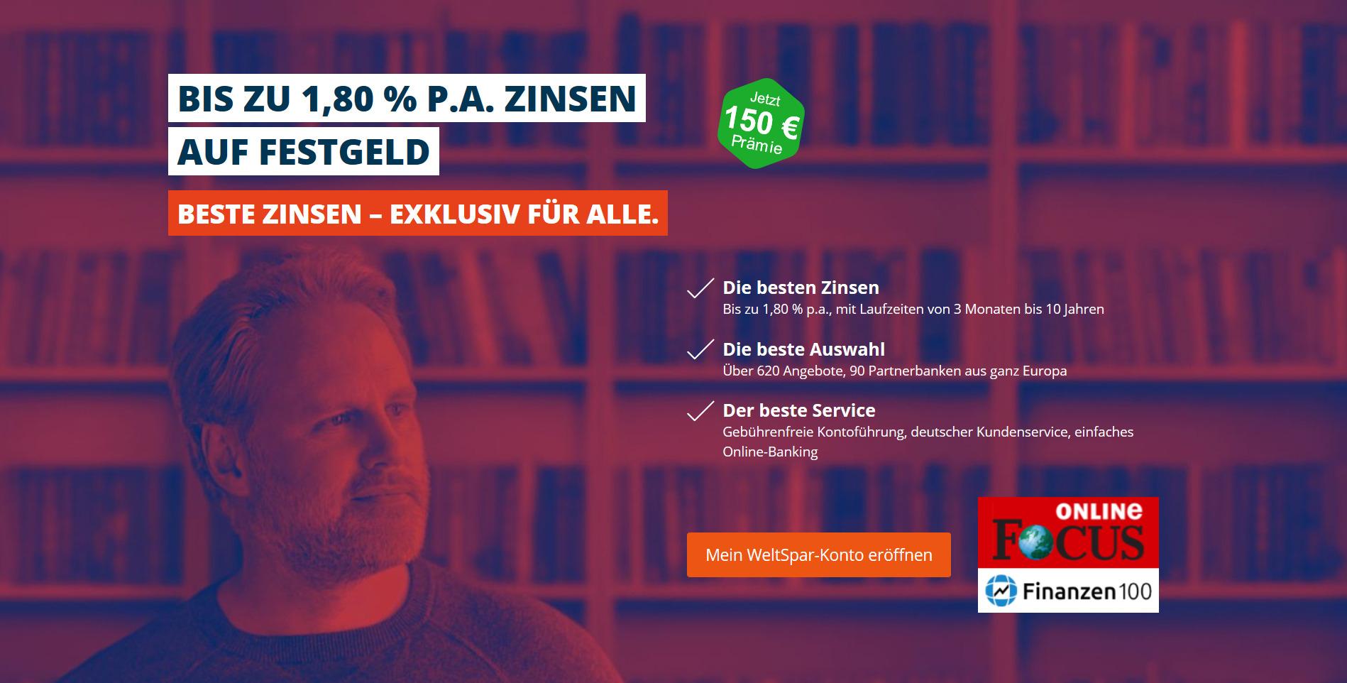 [WeltSparen] 150€ Bonus für Neukunden (Festgeld von mind. 5.000€ und 12 Monate)