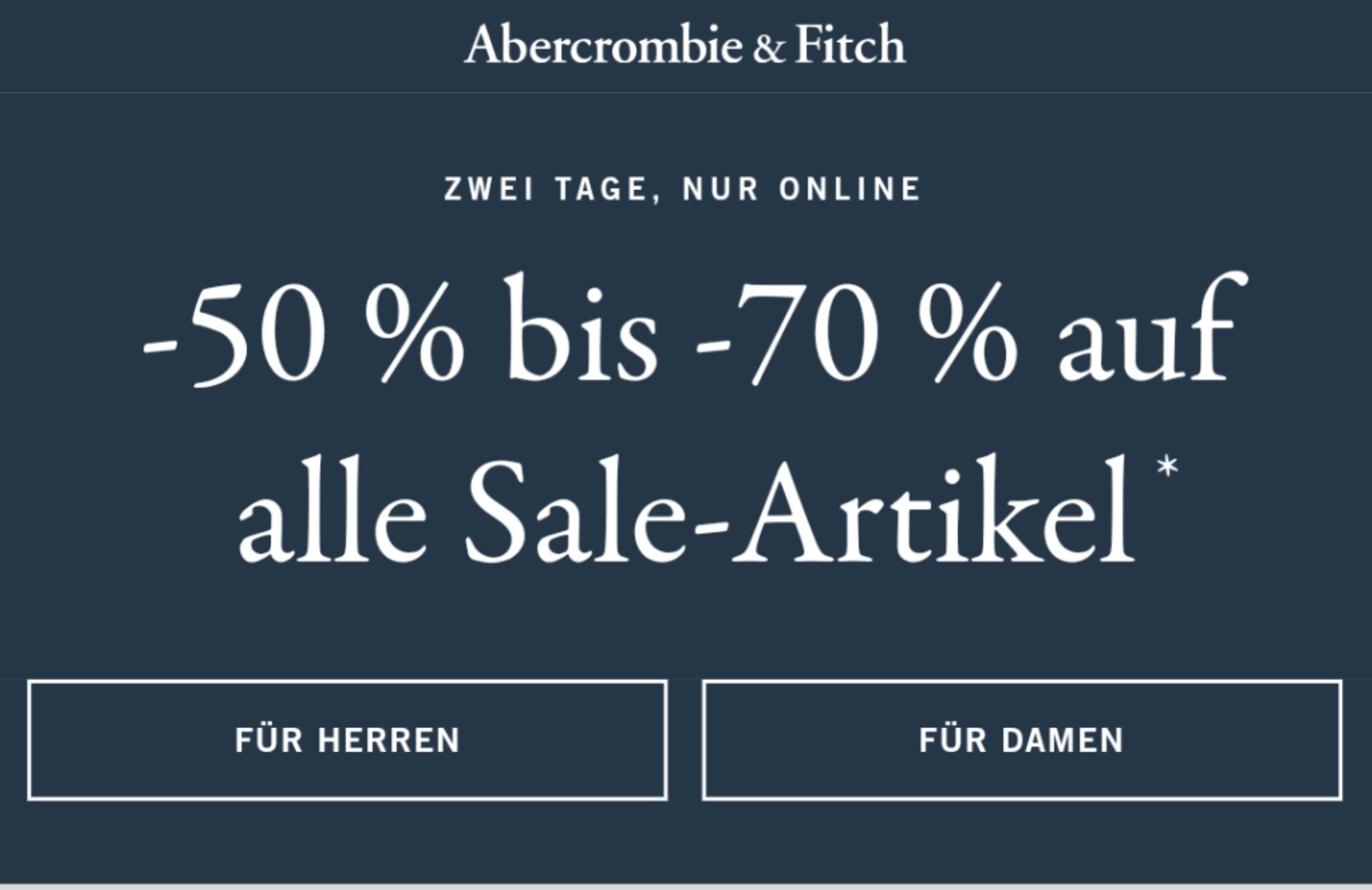 50-70% Auf Sale bei Abercrombie & Fitch