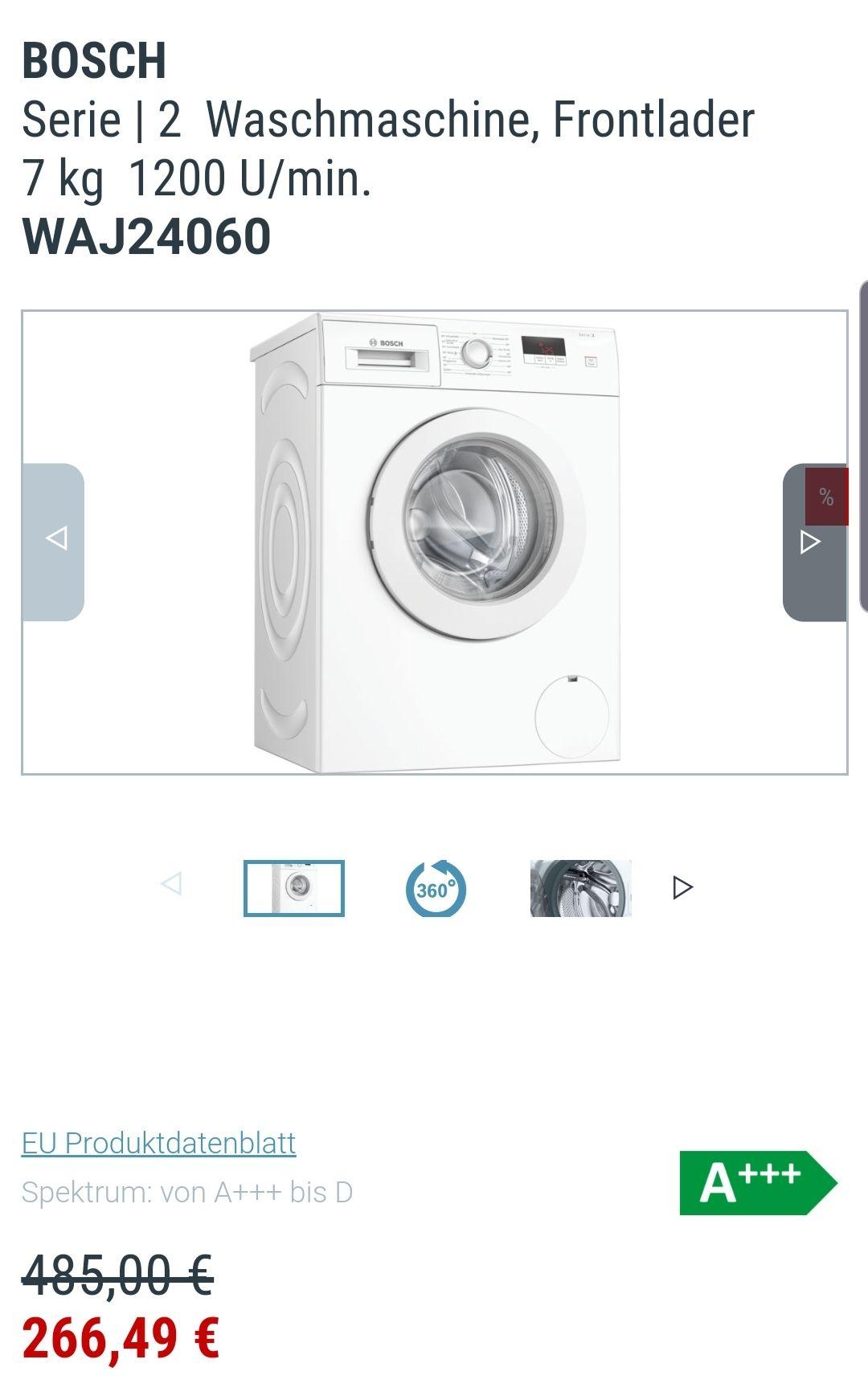 Bosch Waschmaschine WAJ 24060 7KG A+++ Frontlader
