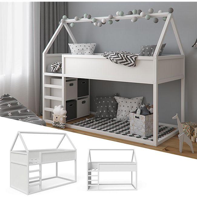 Kinderbett 90x200cm, VitaliSpa Haus Hochbett Pinocchio