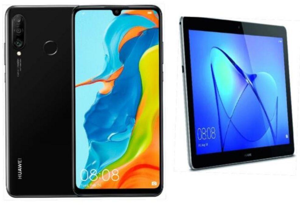 """Huawei P30 Lite New Edition (6,15"""" FHD+ IPS, 6/256GB, Kirin710, Klinke, NFC, 3340mAh) mit Mediapad T3 10 und Case"""