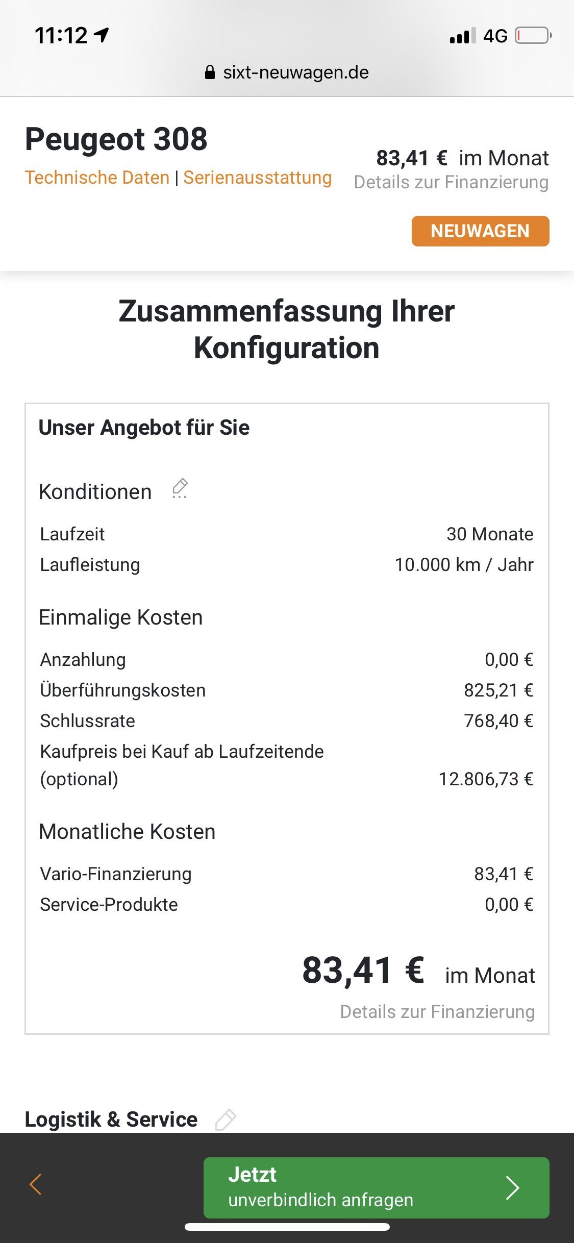 Gewerbe-Leasing mit Kaufoption z.B. Peugeot Allure mit Automatik ab 83,41