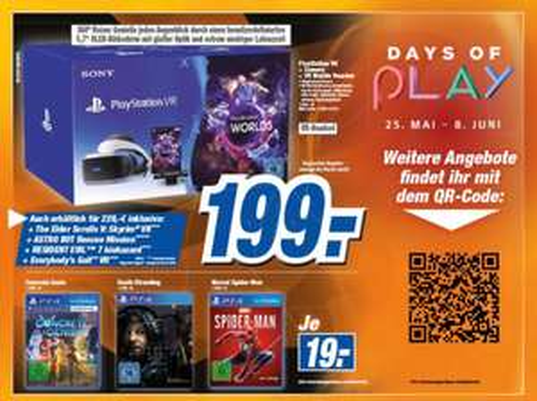 [Days of Play] Sony PlayStation VR V2 +Kamera + VR Worlds für 199€ / Death Stranding für 19,-€/Controller + TLOU-Remastered 59,99€