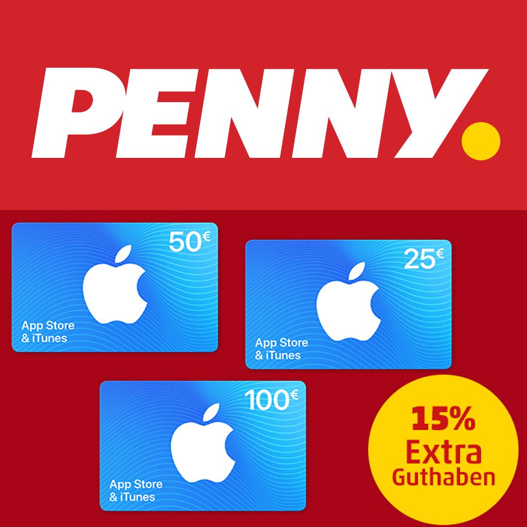 15% Extra Guthaben für Apple AppStore & iTunes Geschenkkarten [Penny Kartenwelt]