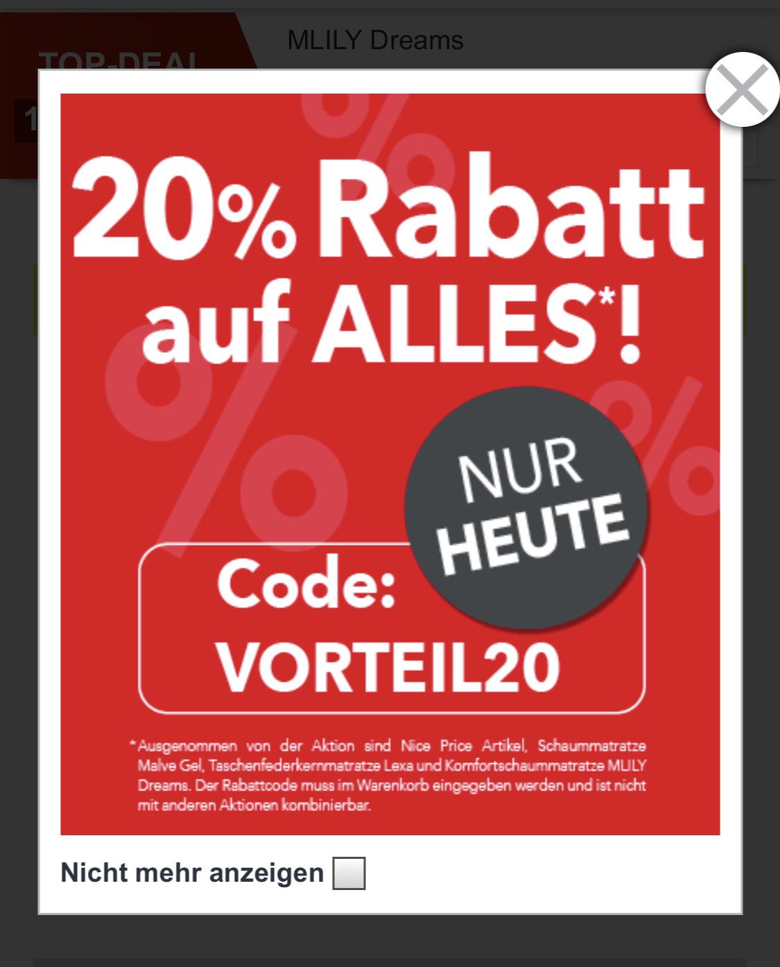 Matratzen-Concord 20% Angebot!