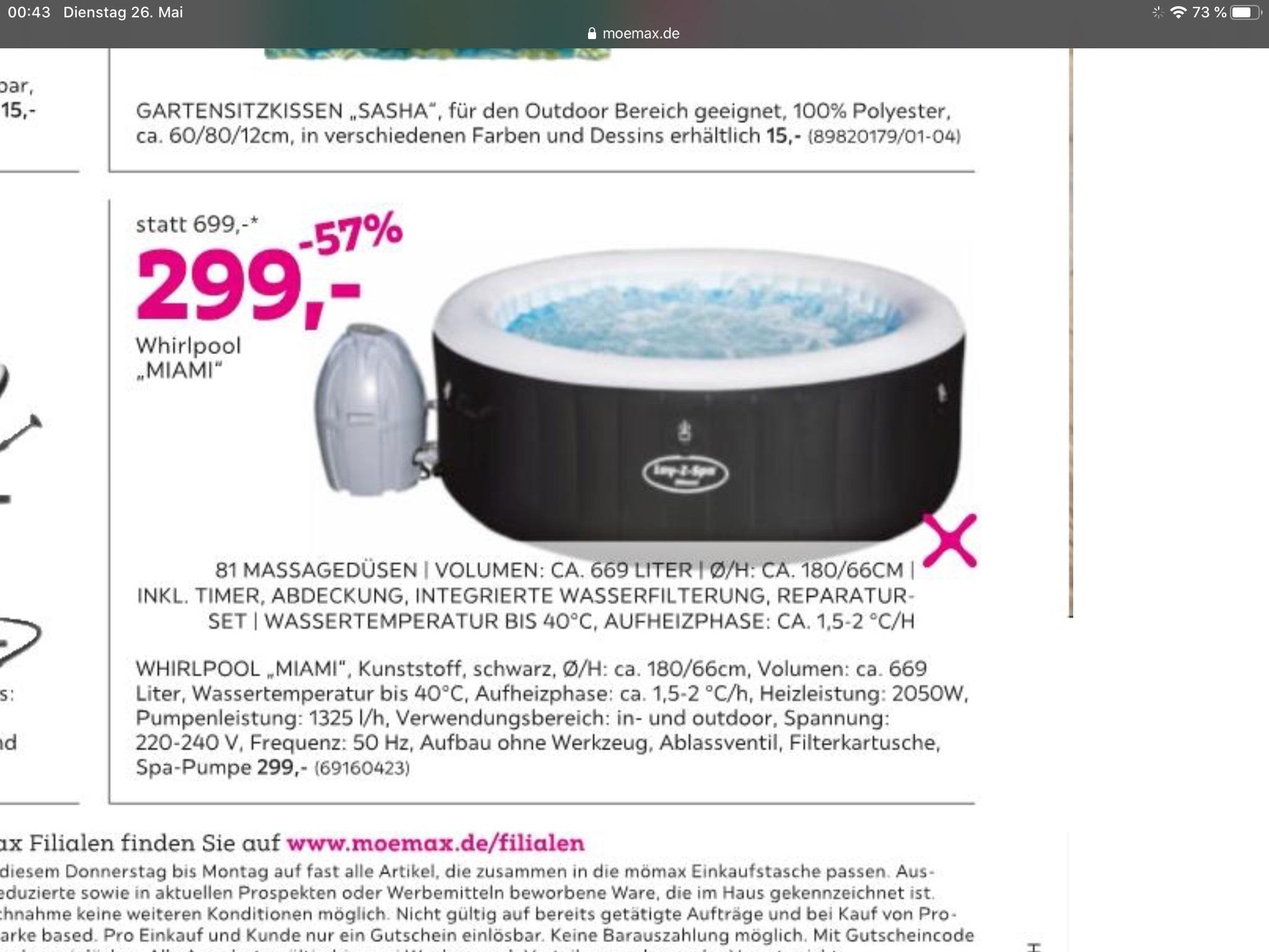 Mömax Lay-Z-Spa Miami für 299€