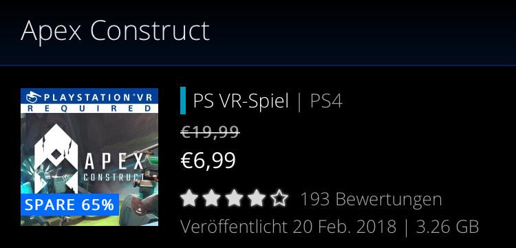 Apex Construct PSN bisheriger Bestpreis