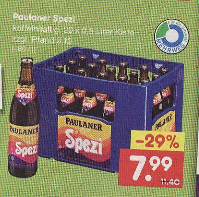 Paulaner Spezi, Kiste für 7.99€ (oder 6,40€ mit Rabattkleber) [lokal BaWü] bei Netto ohne Hund