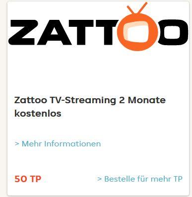 (Lieferando-Prämienshop) Für 50Treuepunkte - 2 Monate Zattoo Ultimate gratis genießen