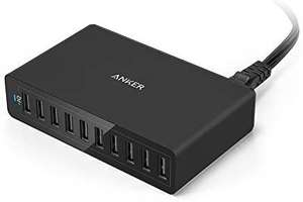 Anker PowerPort USB-Ladestation, 60W, 10USB-Anschlüsse, Ladegerät für Apple- und Android-Handys und -Tablets [Amazon Prime]