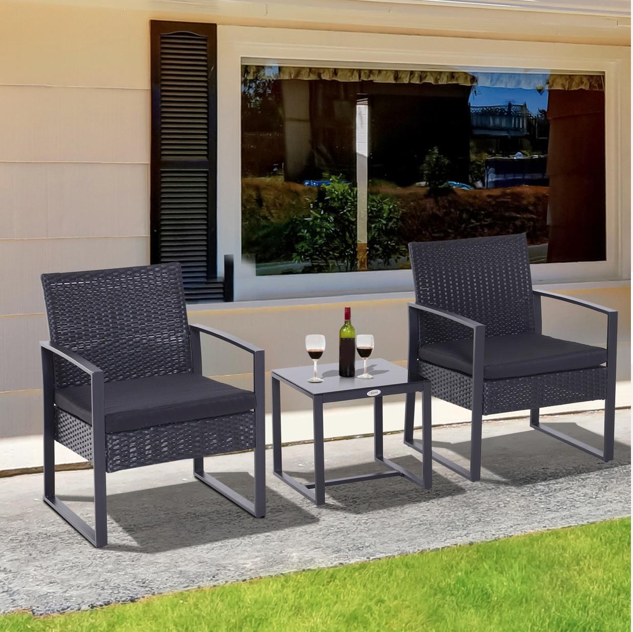 Outsunny Polyrattan Sitzgruppe als 5-tlg. Set schwarz ( Lieferumfang: 1 x Couchtisch, 2 x Stuhl, 2 x Kissen, Montagezubehör )