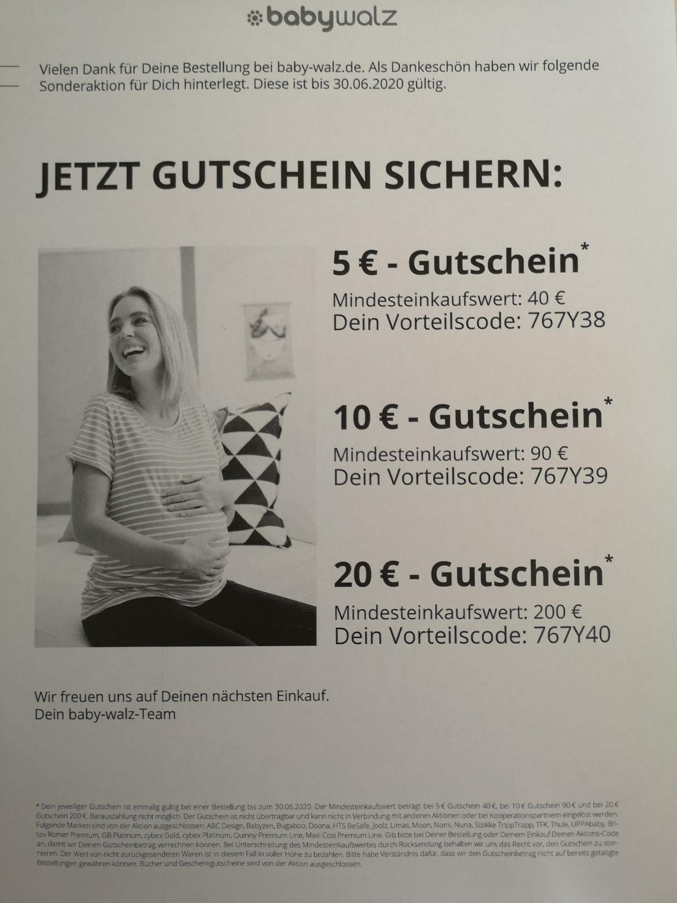Baby-Walz / Babywalz - Gutscheine 5€ ab 40€, 10€ ab 90€ und 20€ ab 200€ (MBW) ggf kombinierbar mit 3% Shoop