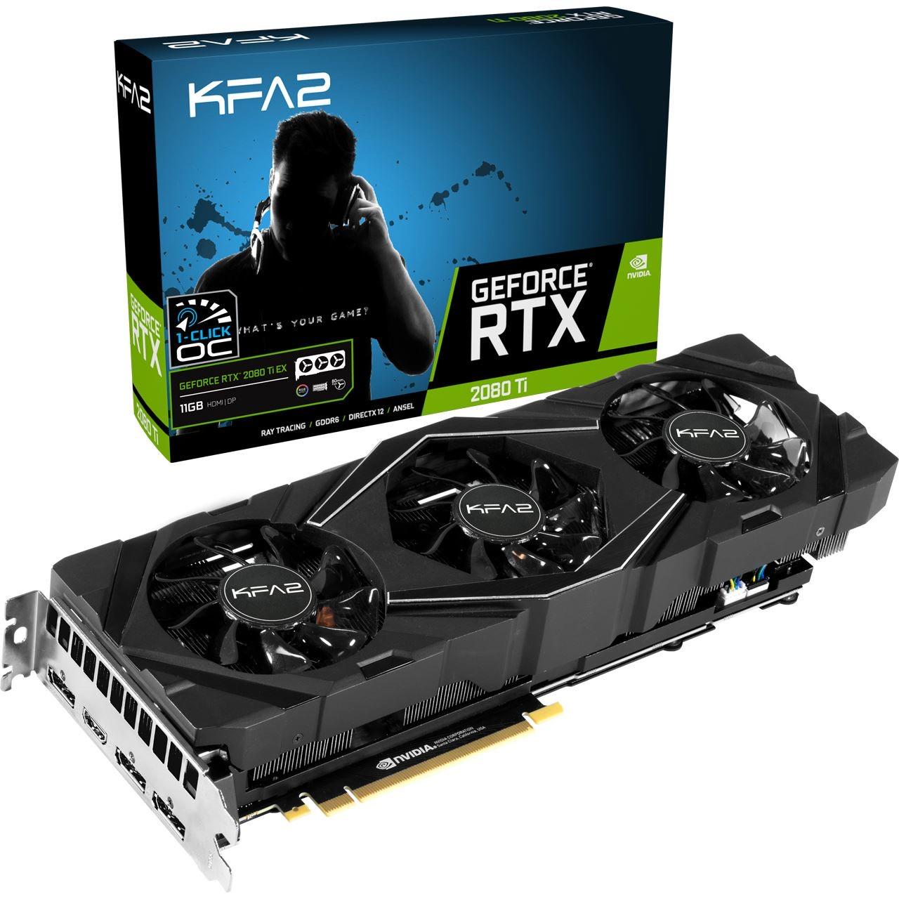 11GB KFA2 GeForce RTX 2080 Ti EX (1-Click OC) Aktiv PCIe 3.0 x16 (Retail)