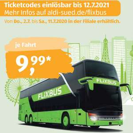 [Aldi Süd] FlixBus Europa-Ticket und FlixTrain deutschlandweit für 9,99€ (Reisezeitraum 13.07. bis 12.07.2021)