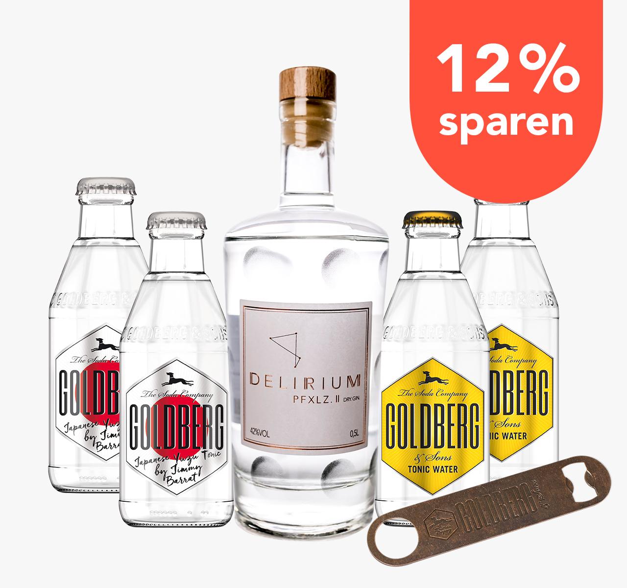 [Foodist] Delirium Pfxlz Pfalz II Dry Gin 42% 0,5l + 4x Goldberg Tonic 0,2 (2x Yuzu, 2x Normal) + Flaschenöffner