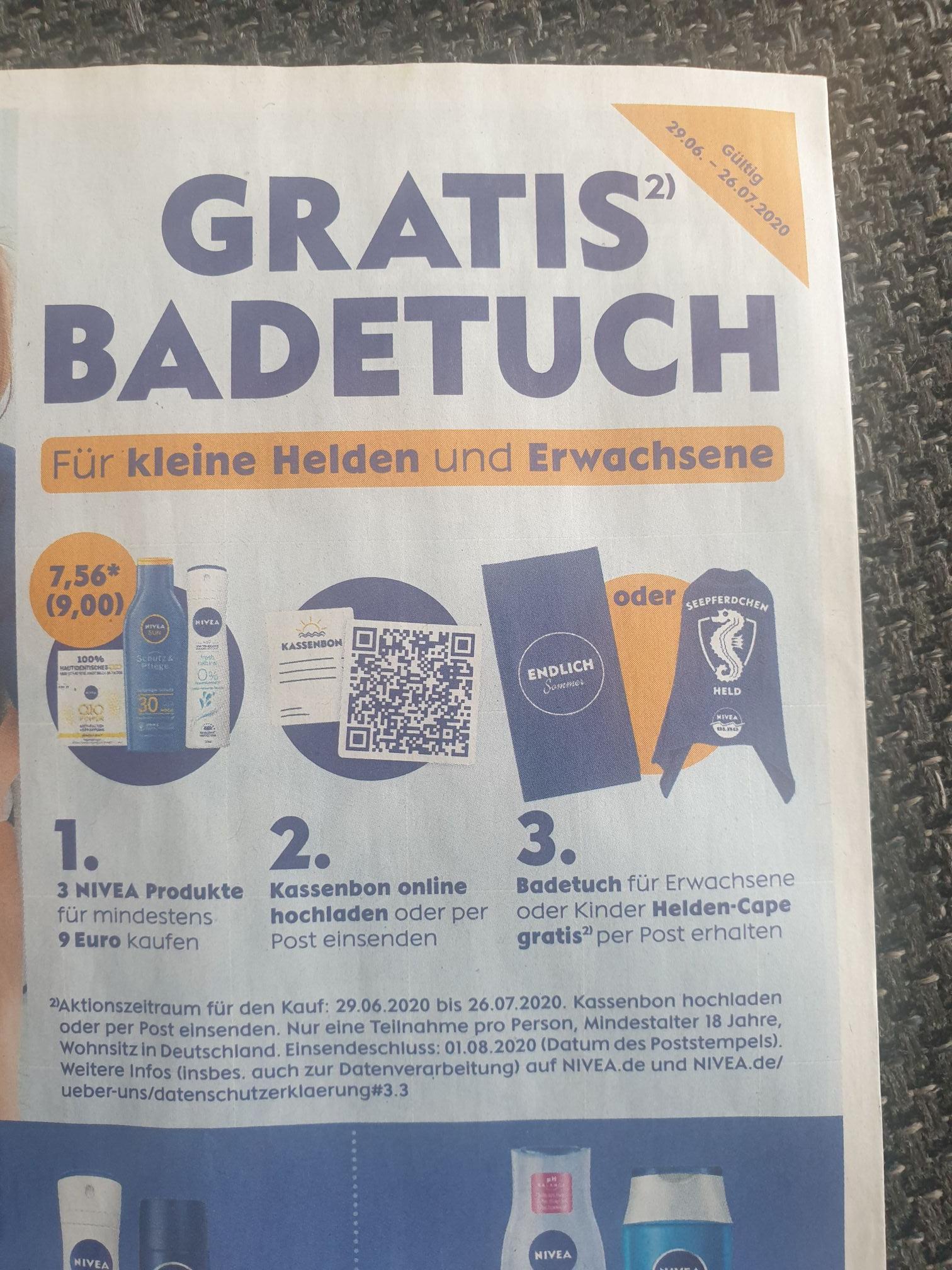 Gratis Badetuch Nivea für Einkauf ab 9 Euro