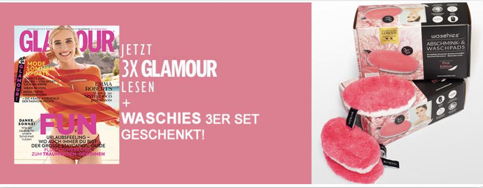 Glamour Miniabo (3 Ausgaben) + Waschies Pink Edition 3er Set als Prämie kostenlos