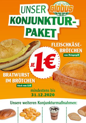 Globus Fleischkäse Brötchen (bzw. Leberkäse Semmel), Torte-to-Go, Bratwurst, 10 Brötchen für je 1 Euro (zusätzlich: MwSt.-Reduzierung)