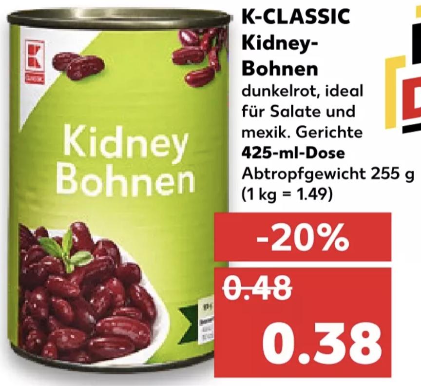 K-Classic Kidney Bohnen (255g Abtropfgewicht) [Kaufland]