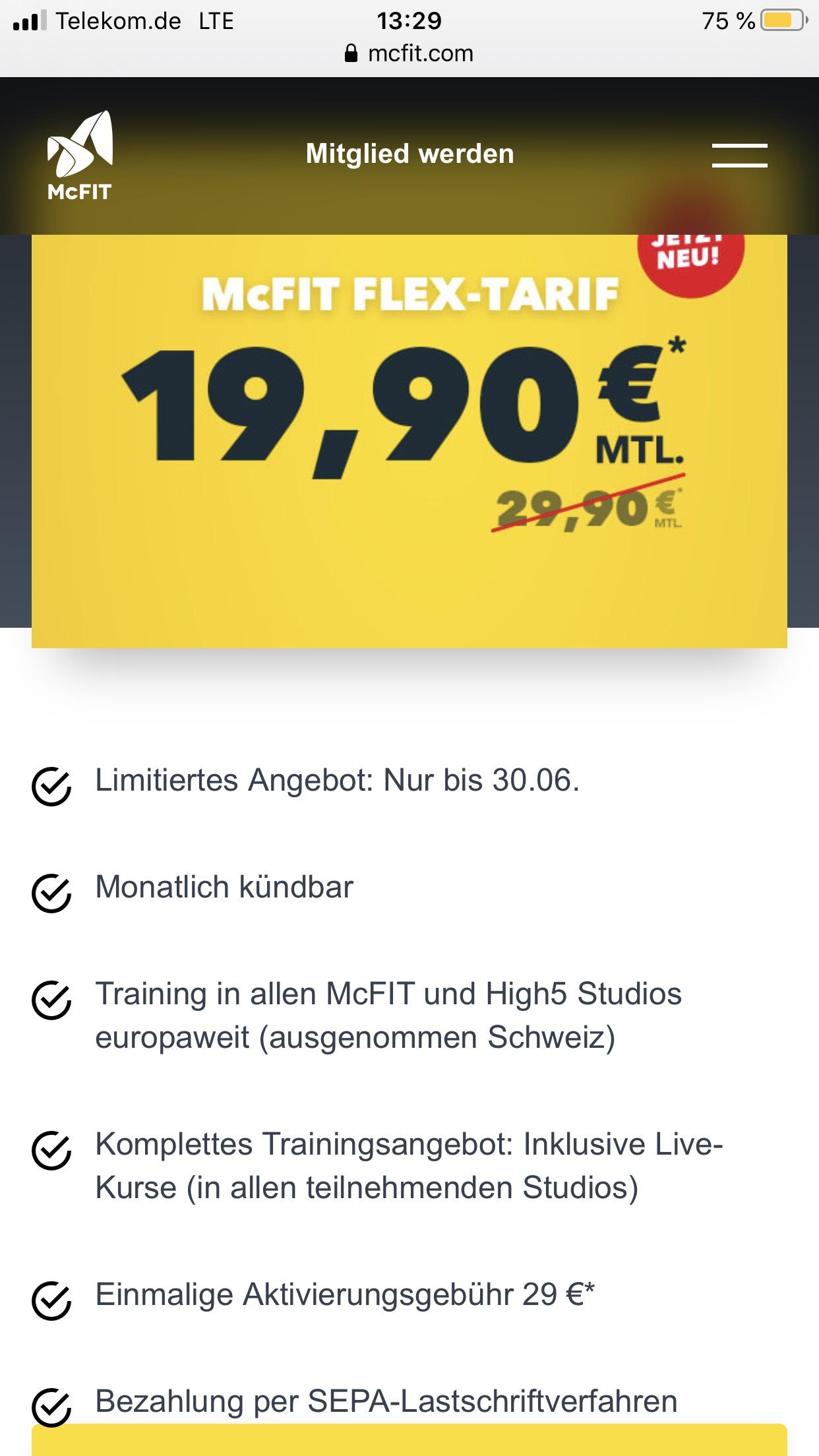 Mc Fit Flex Tarif, monatlich kündbar, für 19,90€ + einmalige Aktivierungsgebühr 29 €
