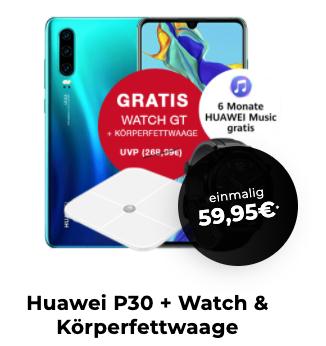 8GB LTE Congstar Tarif für eff 22,98€/Monat inkl. VoLTE & WLAN Call im Telekom-Netz mit Huawei P30/Watch GT für 59,95€ Zuzahlung/ A71 49,95€
