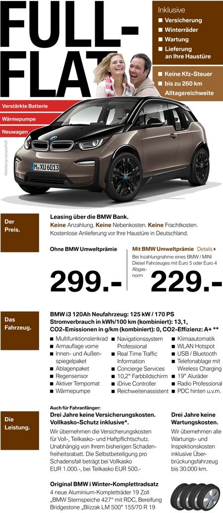 BMW i3 All-Inclusive-Leasing für 299,- EUR im Monat (inkl. Vollkasko, Winterrädern, Wartung, Lieferung) ohne Anzahlung!