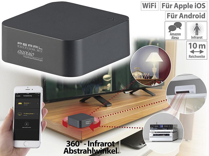 Lernfähige IR-Universal-Fernbedienung mit App, 360°, für Amazon Alexa & Google