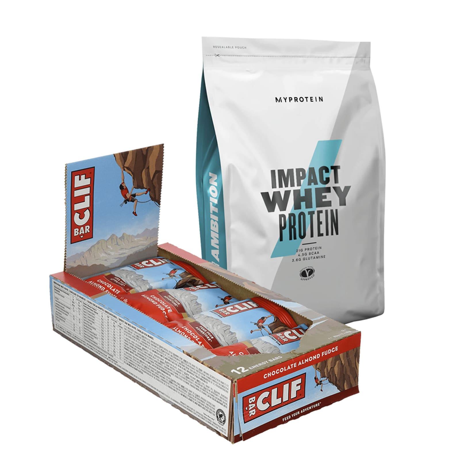 Impact Whey Protein MHD (1000g) + Clif Bar Chocolate Almond Fudge (12x68g)