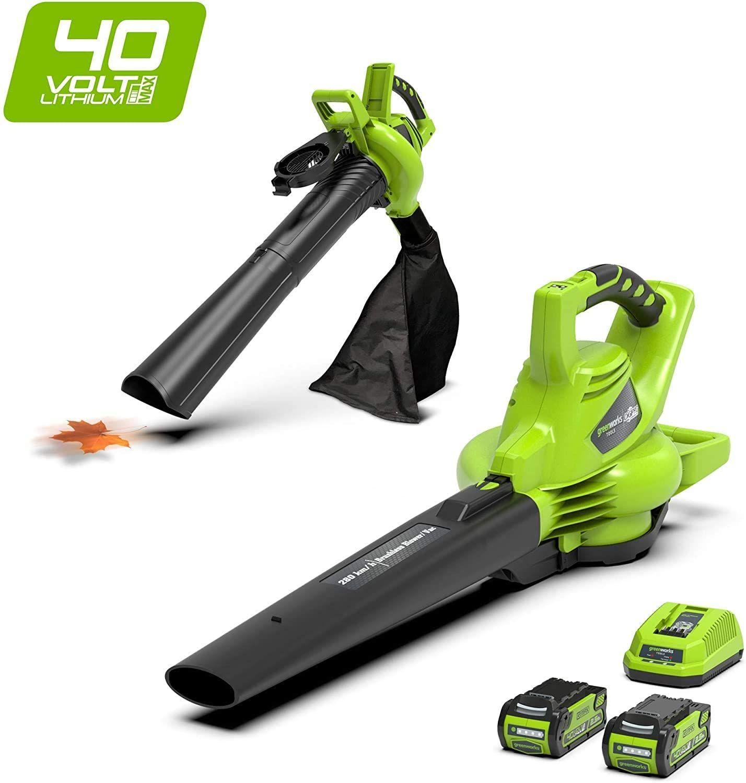 Greenworks 2in1 Akku-Laubsauger & Laubbläser GD40BVK2X inkl. 2 Akkus 2Ah & Ladegerät (185 km/h, Li-Ion 40V, 45l Fangsack, brushless Motor)