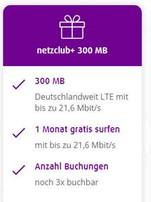 [netzclub] Zusatzoption netzclub+ 300 MB 3x kostenlos buchbar