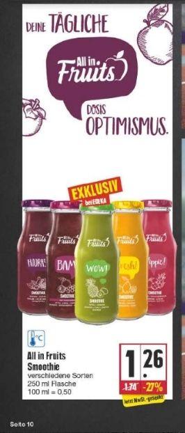 """(Edeka) LOKAL Smoothie """"All in Fruits"""" mit 50 DeutschlandCard Zusatzpunkten für effektiv 0,76€ je Flasche"""