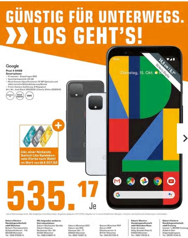 [Regional Saturn München] Google Pixel 4 (64GB) + Nintendo Switch Lite (Farbe nach Wahl) für zusammen 535,17€