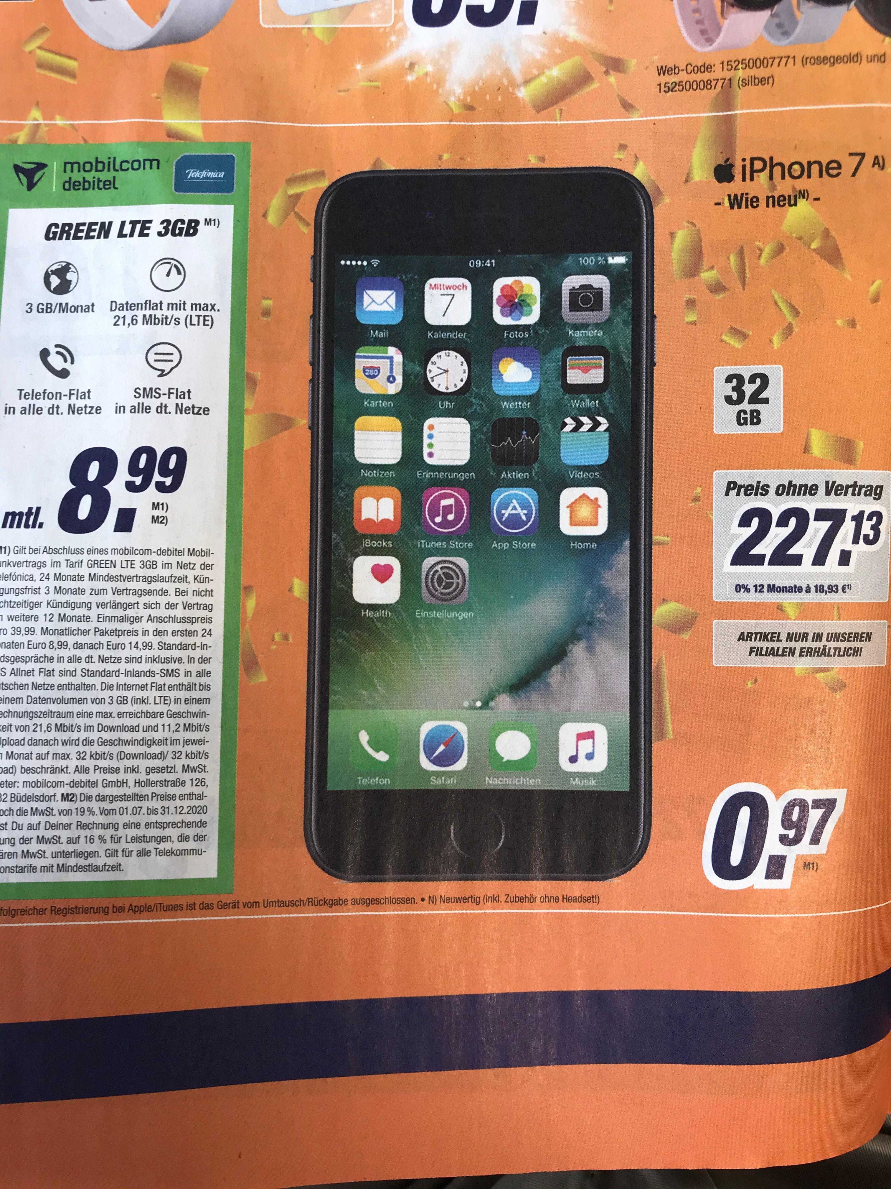 mobilcom-debitel Iphone 7 32GB (wie neu) im 3GB LTE-Vertrag für monatlich 8,99€